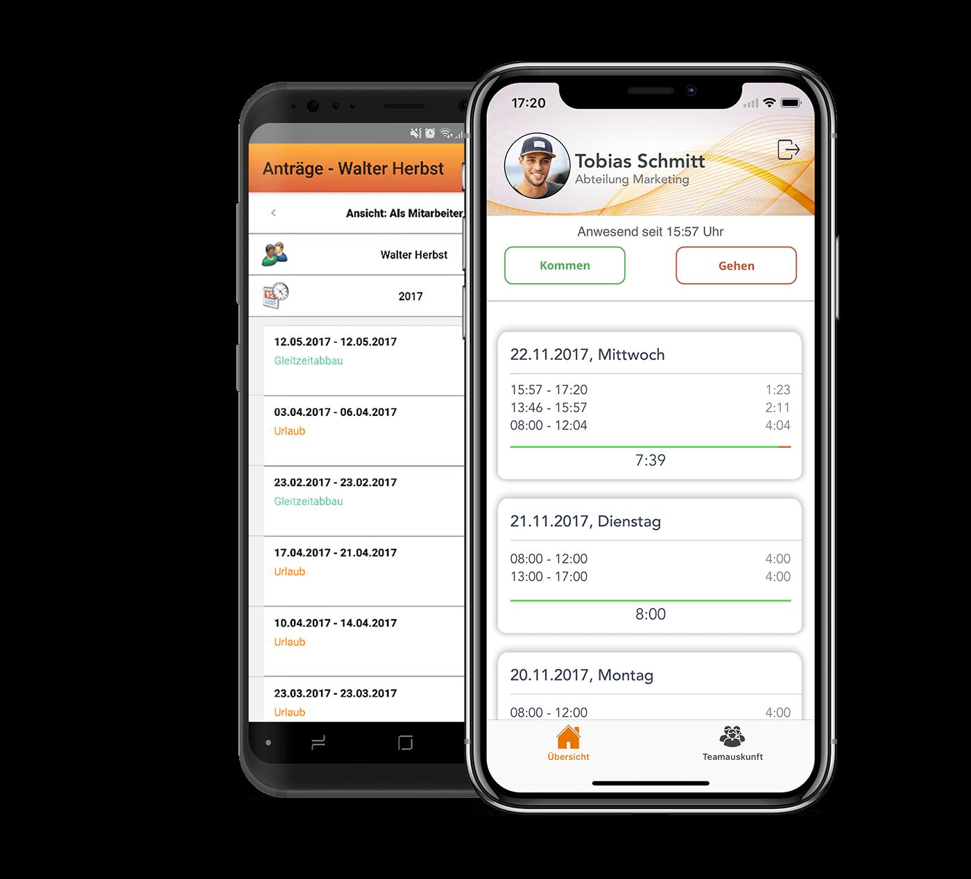 Zeiterfassung Mobil auf Apple und Android